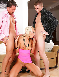 Euro blonde DP in threesome