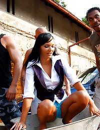 Skinny chick in lusty gangbang