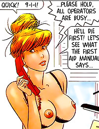 Comic with beauty in the offi...