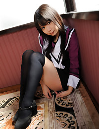 Cute Japanese girl in stockings