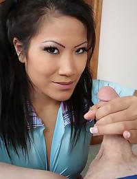 Cocksucking young Asian blows him