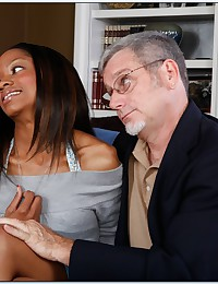 Black chick takes old man cock