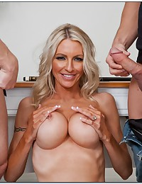 Guys service the hot blonde milf