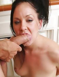 Whore face fucked in kitchen