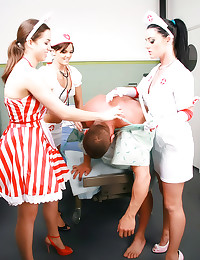 Three nurses play with him