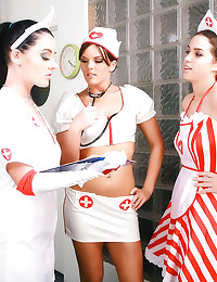Sexy nurses gives handjob to ...
