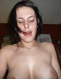 She gets fucked, he cums and she cleans up the cum