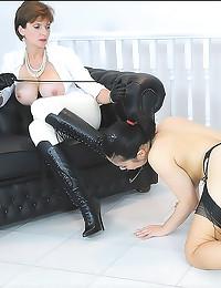 Lesdom milf plays with Asian ...