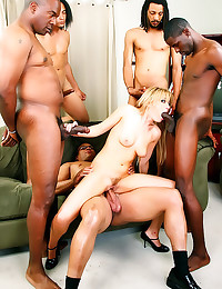 Five black guys gangbang her
