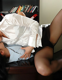 Awesome secretaries in silky pantyhose taking dildos for hot sensations