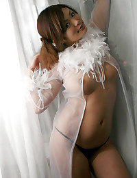 Feather lingerie on Asian