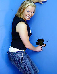 Blonde in jeans gloryhole blo...
