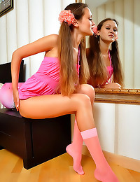 Little pink dress striptease girl