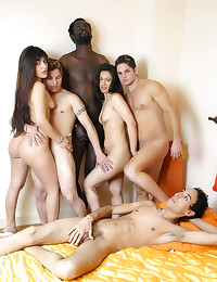 Big interracial group sex