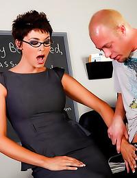 Teacher in black stockings loves cock