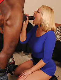 Girl in tight dress goes interracial