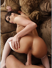 Nerdy Busty Milf Enjoys Smothering Dick