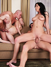 Foursome with big cocks fucking