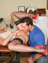 Naughty waitress chick fucked hard