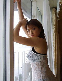 Solo Asian tries on lingerie