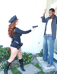 Police Woman Pleases Black Dong