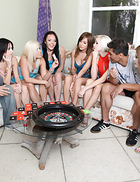 Sweet and sexy teens play Spricy Roulette for a cock prize