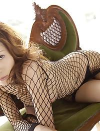 Fishnet dress on Japanese hottie