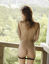 Fishnet dress on Japanese hottie
