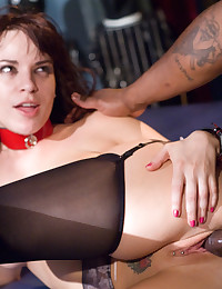 Slut in a collar goes black