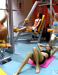 4 slutty schoolgirls playing with cock in gym