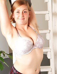 Peek up Jessica's little skirt as she starts to climb the ladder. Her ginger hair pokes out the sides of her panties!