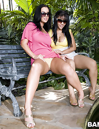 Ladies outdoors with jungle plants