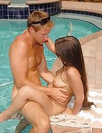 Horny swimsuit milf sex outdoors