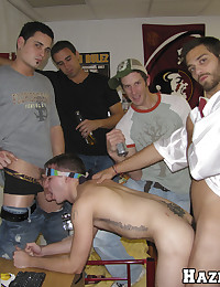 Horny college boy is blindfolded and fucked