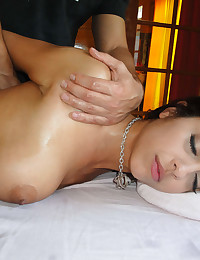 Slutty girl getting oiled up, massaged, and fucked by the dirty masseuse