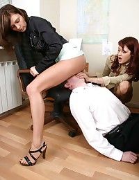 Nasty office facesitting threesome by pretty fem boss and her gf