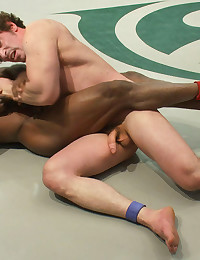 Two big-dicked muscle gods tear it up on the mat and then fuck it out in the locker room leaving the loser's ass torn up and brutally violated.