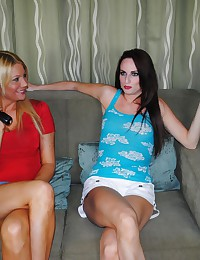 Audrey Lords and Christina Skyee handjob with big cock