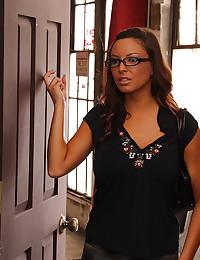 Glasses girl takes big cock
