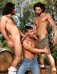 Aybars and D.O. find themselves kissing, groping, sucking and hungry for more manaction in this video. David V then jumps right in and gets busy fellating both Aybars and D.O. The men then position themselves with David V in the middle while D.O. is behin