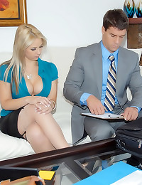 Business babe in stockings sl...