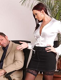 Satin blouse babe fucked at work