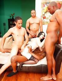 Four black guys gangbang babe