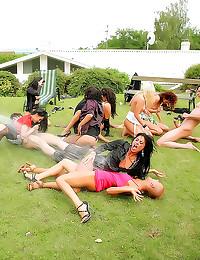 Elegant ladies in outdoor org...