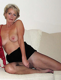Hairy mature in fishnets