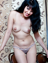 Blue Eyed Beauty Spreads Hairy Pussy