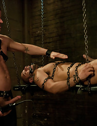 New dom Derrick Hanson pounds the living hell out of house slave Leo Forte.