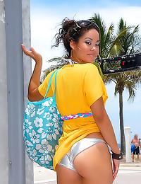 Shiny bikini Latina is fuckable