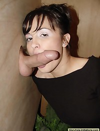 Brunette gloryhole blowjob suck cumeating