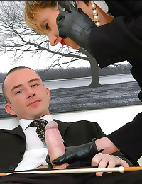 Leather gloves handjob from m...